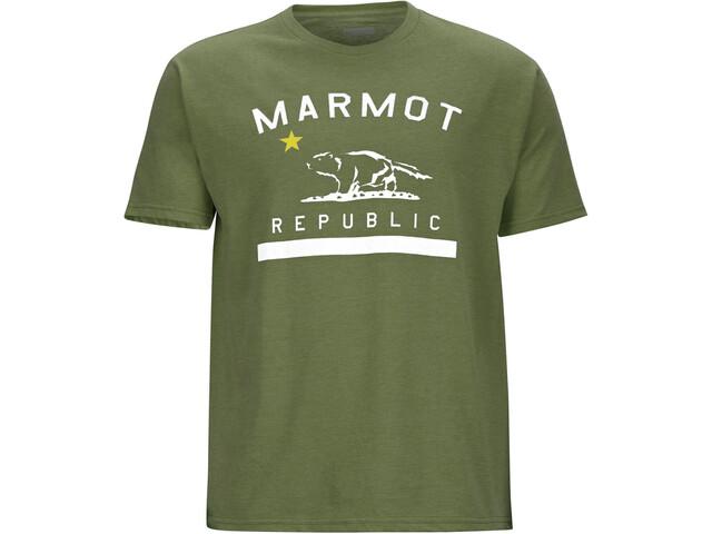 Marmot Republic Bluzka z krótkim rękawem Mężczyźni, olive heather